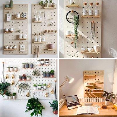 訂做日式簡約牆上置物架-歡迎查詢---木洞板實木收納客廳廚房卧室隔板牆壁壁掛牆上置物架洞洞板