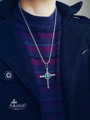 ℱ妙༸↬施洛寶  復古花紋【時光】鑲石鈦鋼十字架項鏈男款吊墜掛件配飾品