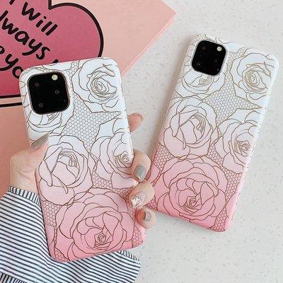 2066玫瑰花漸變色IPHONE手機電話殼新IPHONE 11 PRO 6 7 8 X PLUS XS XR MAX