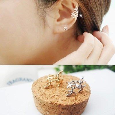 可愛時尚樹葉環繞耳骨夾 蔓延 藤蔓 樹葉夾式耳環  葉子 無耳洞耳環 耳骨夾 【希望種子購物網】