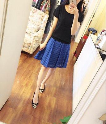 susu高單價品牌amiw優雅藍色格子裙適合低腰腰圍28吋以內