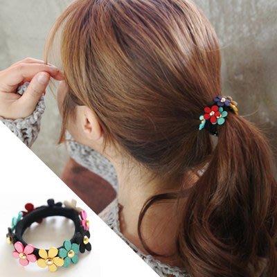 ~小桃子 韓國版 進口 髮飾髮圈 彩色小花髮圈 髮束 現貨當天出
