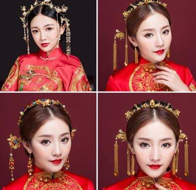 新娘頭飾 中式鳳冠結婚古裝發飾套裝 秀禾和服龍鳳褂配飾品—莎芭