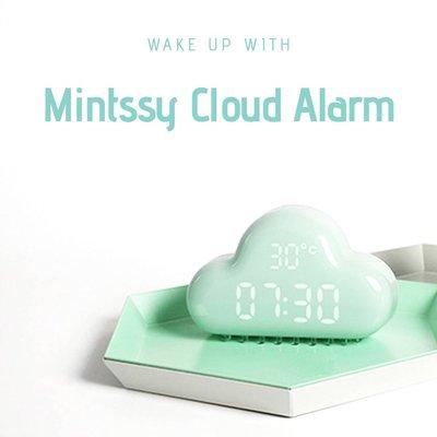 薄荷雲鬧鐘 父親節禮物 鬧鐘 鐘 時鐘 日曆 床頭燈 床頭鐘 雲 禮物 聲控鬧鐘 USB鬧鐘
