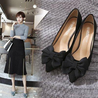 可開發票 韓版蝴蝶結尖頭鞋子 淺口貓跟中高跟工作鞋z4072