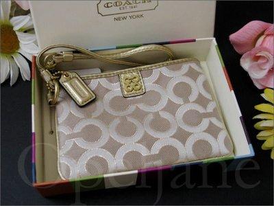 美國 Coach 46804 金絲織布手拿包 手腕包可放IPHONE 4 5手機 精緻禮盒+150元 iCoachBag