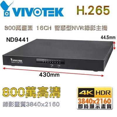VIVOTEK 晶睿 ND9441 H.265 800萬畫素16CH 智慧型NVR錄影主機 POE 支援四硬碟