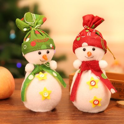 千禧禧居~圣誕裝飾品雪人娃娃蘋果袋擺件圣誕禮品袋圣誕節裝飾兒童創意禮物