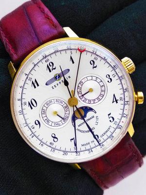 德國 齊柏林飛船錶 Zeppelin 興登堡月相三眼石英錶 40mm 大錶徑 行走正常 一元起標 高收 卡地亞 萬寶龍
