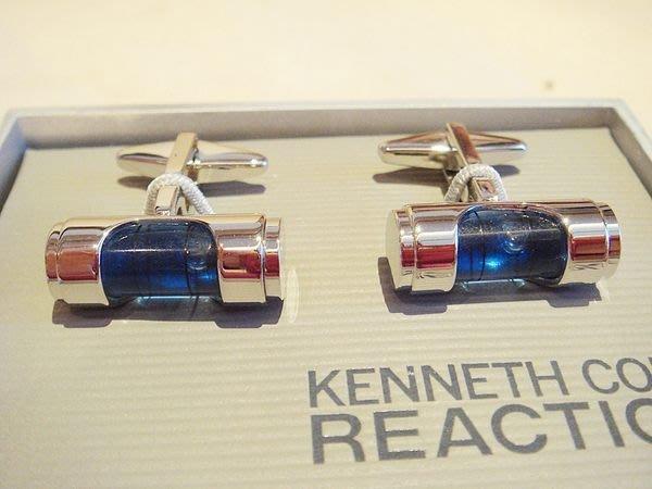 破盤清倉大降價!全新Kenneth Cole Reaction銀藍色流動液體造型金屬袖扣,父親節情人節禮!無底價!免運!