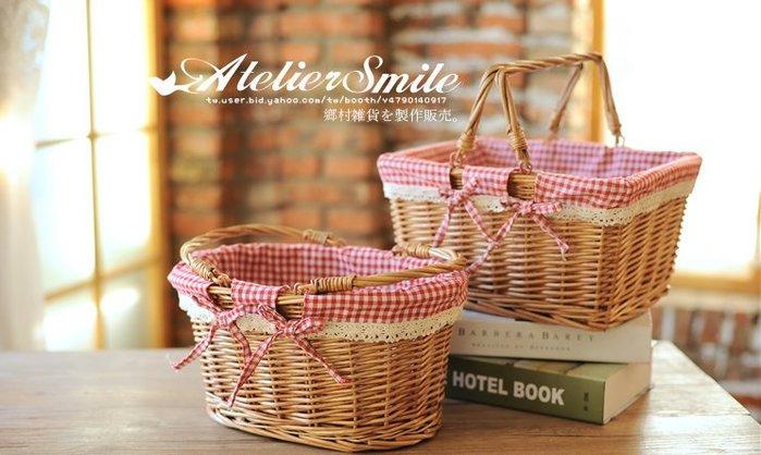 [ Atelier Smile ] 鄉村雜貨  手工藤編  收納籃 雜物籃 花籃 野餐籃 家居 # 大 (現+預)