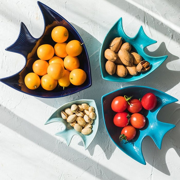餐碗沙拉碗醬料碗 創意海魚碗可愛烤碗家用陶瓷碗小碗飯碗(最大款)_☆優購好SoGood☆