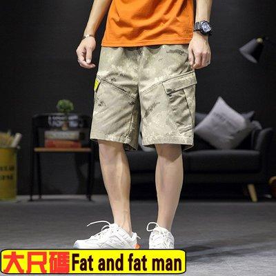 M-5XL【胖胖達人】KF10181201大尺碼男裝新款休閒男士迷彩短褲寬鬆大碼夏季原創工裝短褲沙灘褲