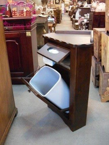 美生活館--全實木鄉村家具--瑪格麗特彩繪角落面紙垃圾桶/電話櫃/花檯