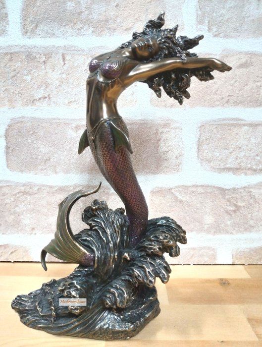 點點蘑菇屋 歐洲精品藝術仿銅雕塑 海洋女神YEMAYA美人魚擺飾  藝術雕像 現貨 免運費