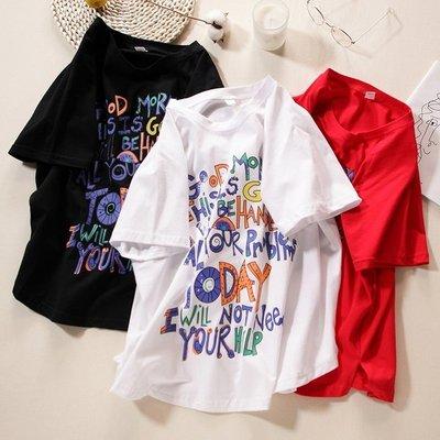 夏季新款韓版寬鬆百搭圓領字母套頭短袖T恤上衣女純棉