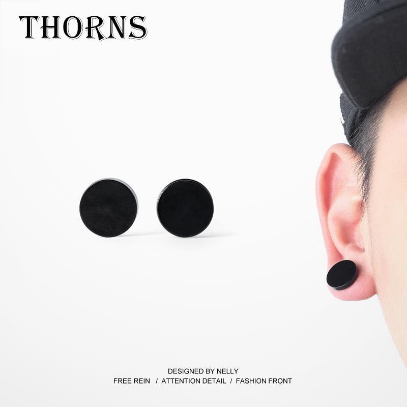 【THORNS】擴張擴耳效果 雙面 大釘 樹脂靈感耳釘 純黑耳釘 PUNK搖滾嘻哈