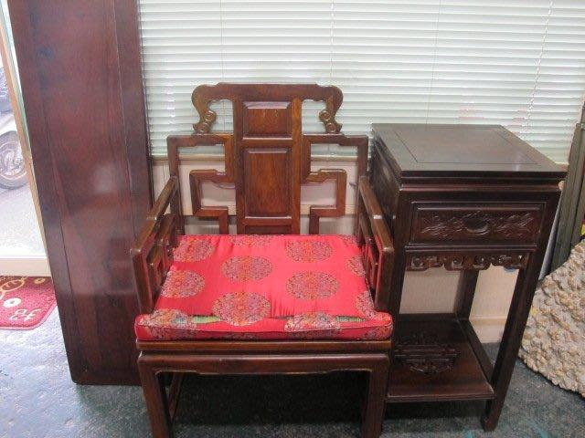 二手舖 NO.1203 古董 早期家具 太師椅+茶几 雞翅木 三件一起賣 值得收藏