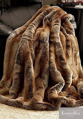 【 LondonEYE 】NeoClassic新古典X奢華織品人造皮草X床尾裝飾蓋毯 棕金狐狸光澤 樣品屋/豪宅BL06