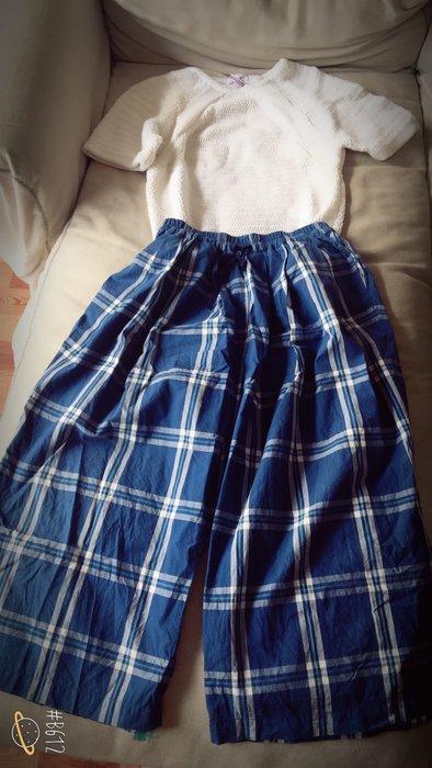 轉賣maggie's love 日本製格紋寬褲 (補實穿照)