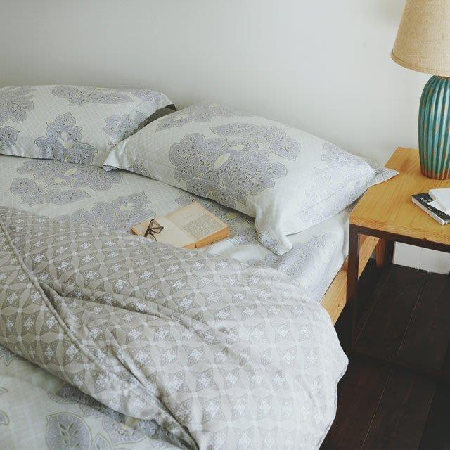 天絲-薄床包鋪棉被套組【優雅園】(加大6尺) -絲薇諾