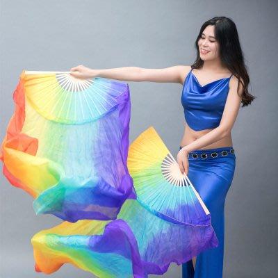 艾蜜莉舞蹈用品*肚皮舞真絲扇/彩虹漸層長綢飄扇150cm$400元
