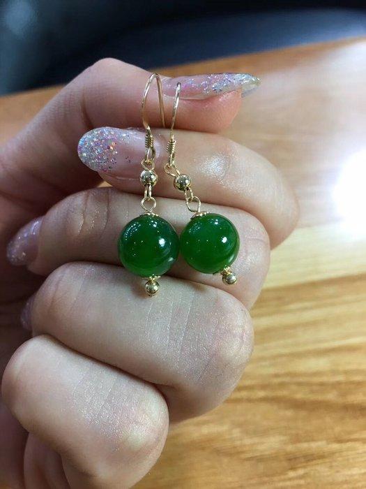精緻life天然和闐碧玉圓珠耳墜14k金鑲嵌女款95mm正陽綠無黑點耳鉤