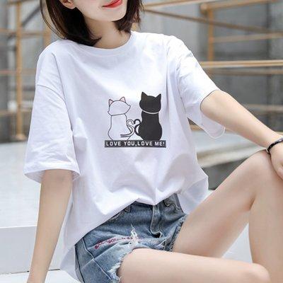 夏季女裝短袖T恤 純棉短袖白色t恤女新款寬松簡約韓版百搭學生純白大版ins潮