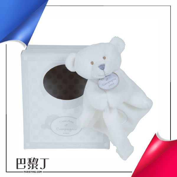 Doudou et Compagnie QQ雪白毛巾熊奶嘴鏈 有盒【巴黎丁】