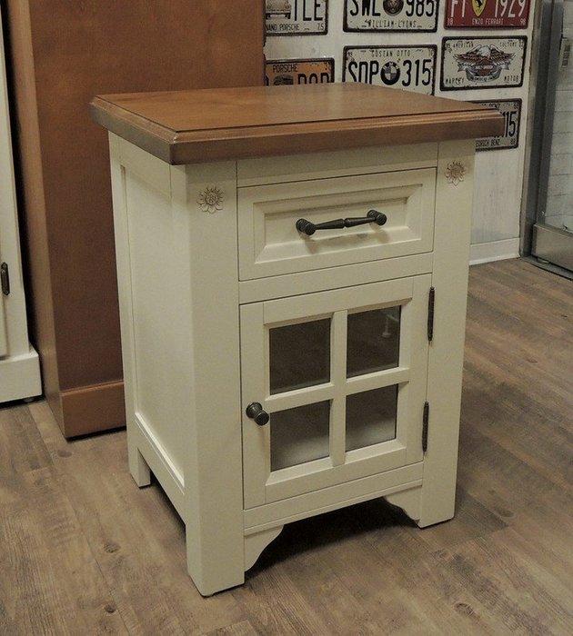 雙色歐洲鄉村風實木床頭櫃 實木歐式床頭櫃 白色床頭櫃 一門一抽收納櫃 邊几櫃 置物櫃 歐風典雅造型 適合有品味的您