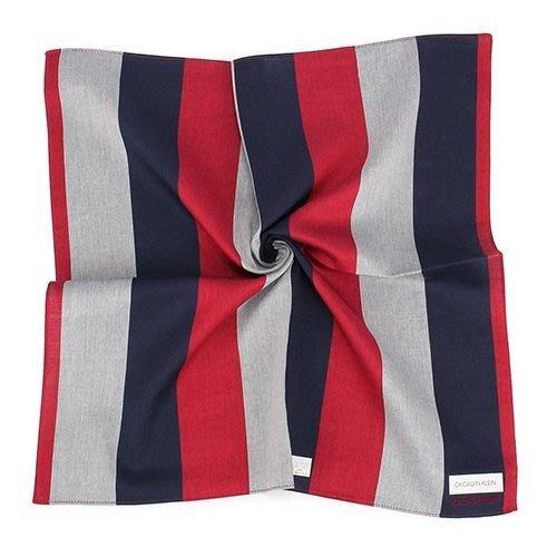 【姐只賣真貨】Calvin Klein CK簡約直條拼色純綿帕巾手帕(紅灰色)48*48CM 父親節88節禮物