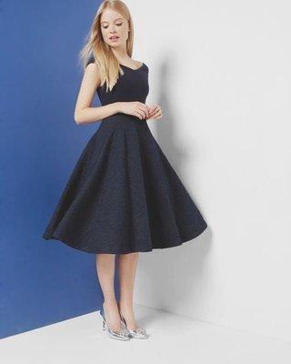 英國購回-TED BAKER 藍色優雅圓裙洋裝 2號 斷貨款 MaxMara/BCBG/Karen Miller 參考