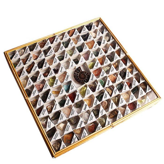 5Cgo【茗道】天然水晶原石礦物晶體標本盒48種八邊形盒礦石孩子教學科普欣賞收藏禮物擺件英文583338388632