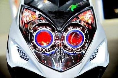 KYMCO 雷霆 RACING RC 遠近魚眼HID大燈模組改裝 LED光圈 天使眼 惡魔眼 電鍍飾圈 40W