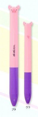 ◇FollowV◇日本文具《現貨》mi-mi pet 粉紅色動物小豬 立體耳朵 黑/紅 兩色原子筆 日本製
