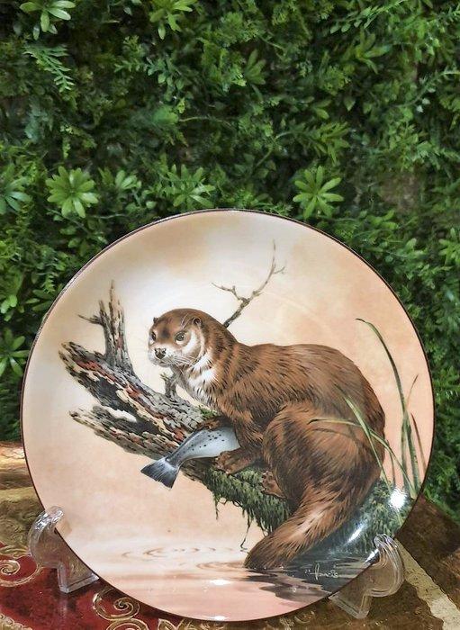【卡卡頌  歐洲古董】WEDGWOOD 緯緻活  英國(老件未用) 藝術家 簽名 水獺  裝飾盤 p1748 ✬