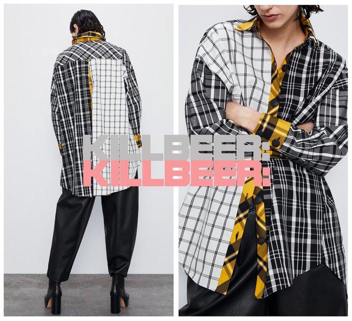 KillBeer:貪心女孩的新風格之 歐美復古經典英倫撞色拼接格紋寬鬆感oversize男孩風襯衫上衣010804