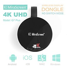 新款 MiraScreen 4K UHD 2.4g 無線同屏器 MiraCast/Airplay Display Dongle G7 Plus IOS 12