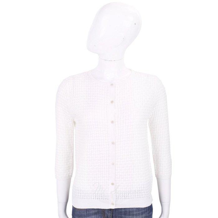 米蘭廣場 ALLUDE 100% 白色竹節編織七分袖針織小外套 1740238-20
