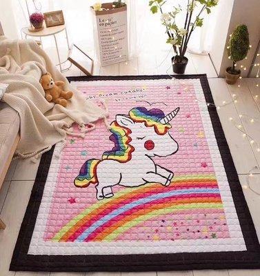 【Chubby Baby】150*200*1.5cm 北歐風 彩虹小馬 丹麥原單 布地墊  棉質防滑地毯 寶寶地墊