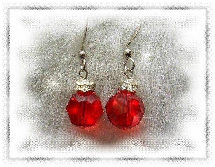 ※水晶玫瑰※ SWAROVSKI 10mm水晶珠 耳勾式耳環(DD327)~出清~三對免郵