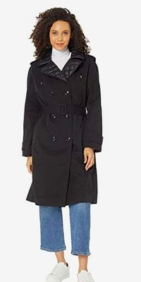 kate spade new york Double-Breasted Trench with Quilted Hood