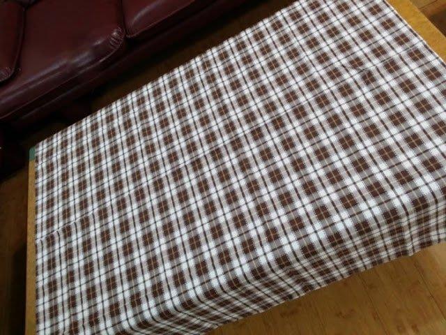 日式zakka咖啡色純棉格子桌巾/桌布100*170公分