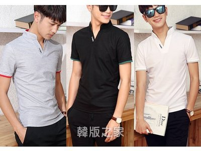 韓版男士短袖T恤立領polo衫 C253