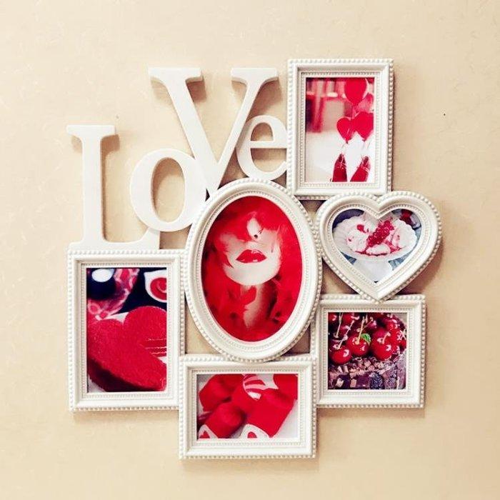相框歐式影樓love愛情情侶家庭創意連體組合6寸7寸藝術相框掛墻照片墻TZ262