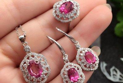 天然粉托帕石純銀白K金 套組 贈權威證書  含耳環  項鍊吊墜 活口戒指(頭等艙精品)