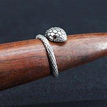 銀革手作 925 純銀 紅鋯石 蛇仔 戒指