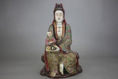 ㊣姥姥的寶藏㊣民國粉彩送子觀音雕塑瓷 古玩 民間收藏