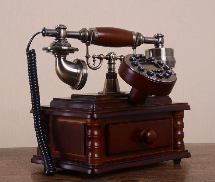 INPHIC-歐式電話機實木座機電話復古家用創意固定仿舊電話機新款別墅