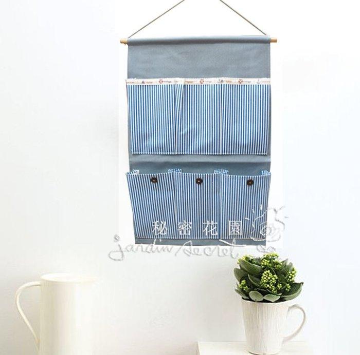 鄉村風ZAKKA棉麻防水條紋六口掛袋/置物袋/收納掛袋/牆壁掛袋/信件袋--秘密花園